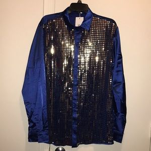 🔴4/$12 long sleeved blue sequin shirt size large